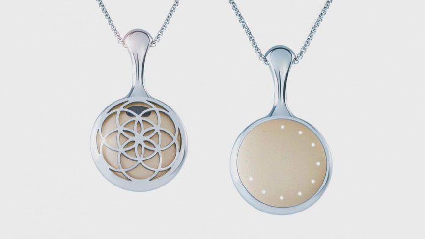 Misfit Shine necklace with wearable technology concentric circle pattern in steel