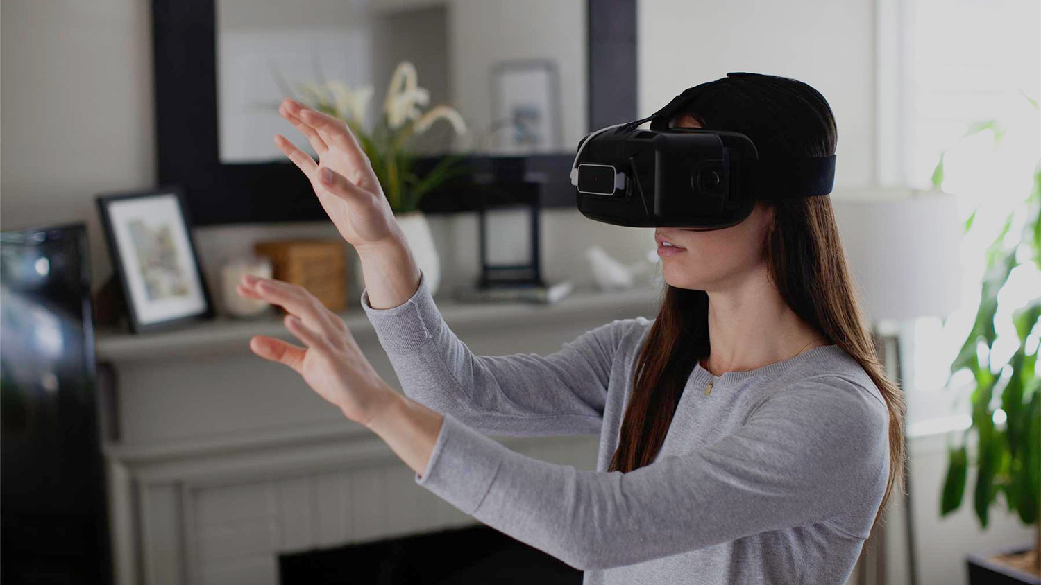 woman using a VR headset for VR gaming