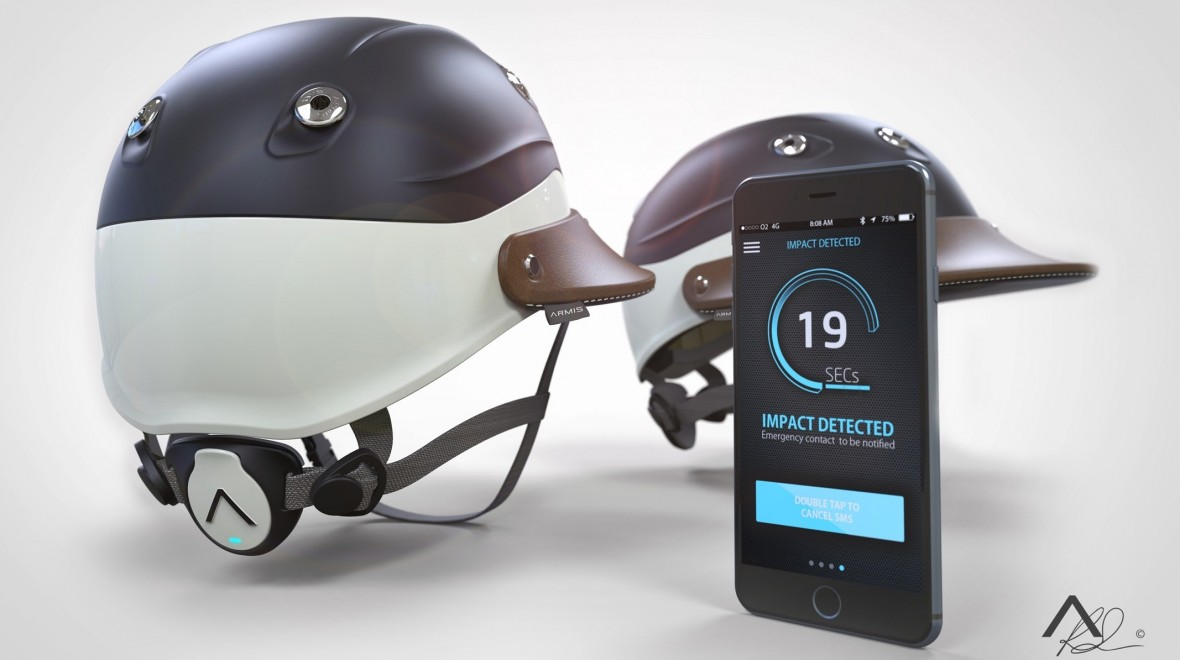 Smart polo helmet features crash sensor