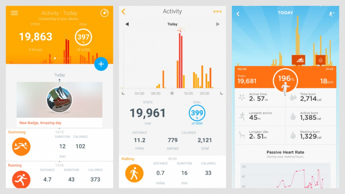 Step Tracking Compared Withings Left And Jawbone Far Right