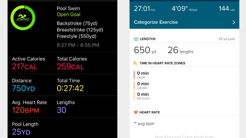 Swimming with Apple Watch Series 3 and Fitbit Ionic
