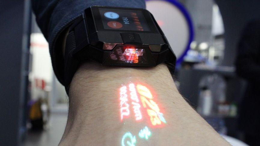 Haier's Acu smartwatch projects notifications, stats and drawings onto your hand