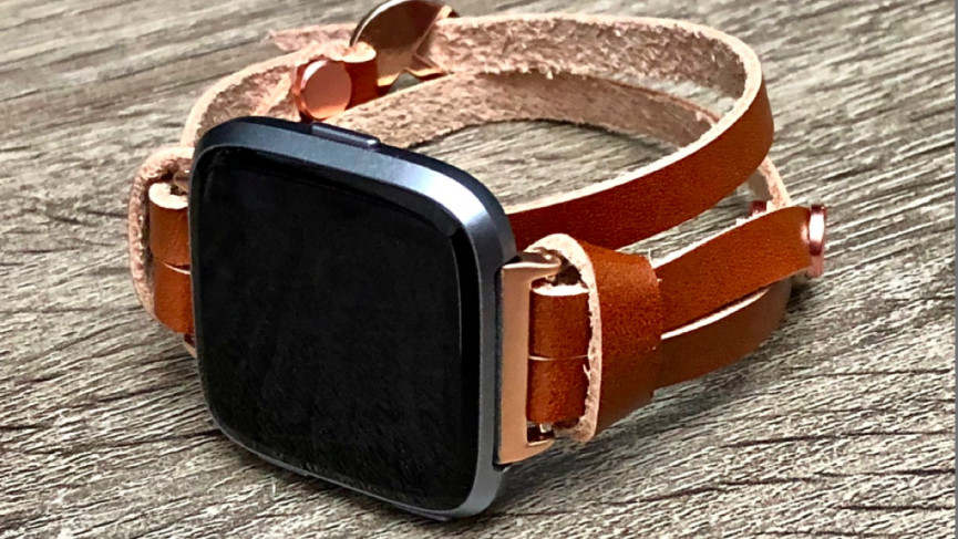 Rose gold & bronze leather band