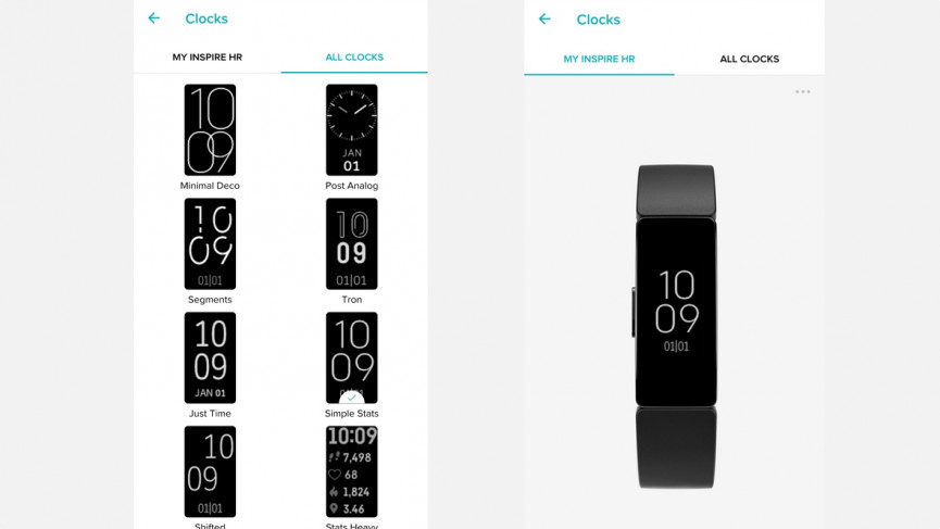 Fitbit Inspire HR watch faces