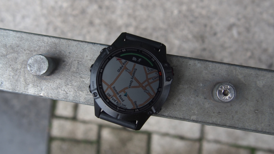 Garmin Fenix 6 Pro showing TOPO mapping