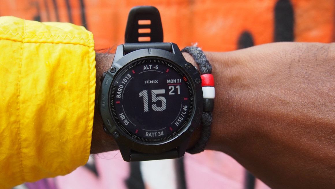 Garmin Fenix 6 design and interface, on-wrist shot