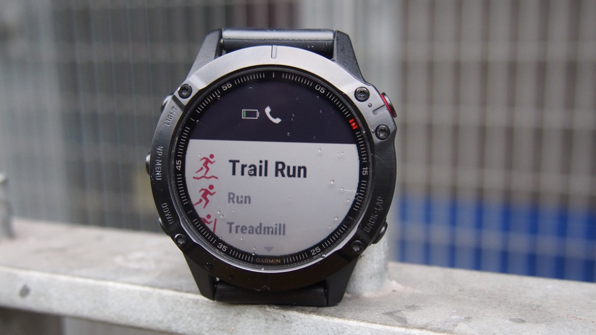 Garmin Fenix 6 Pro showing menu with trail running as an option