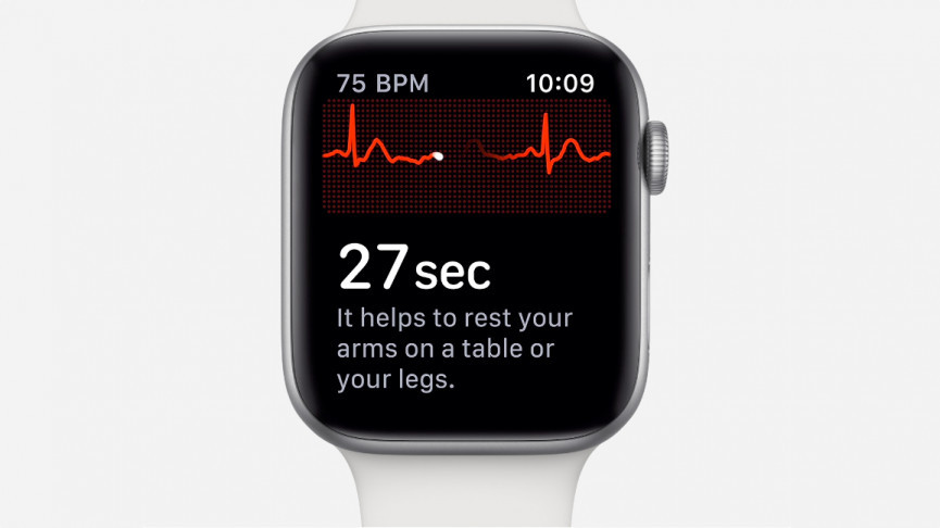 Apple Watch Series 4 with ECG app on screen