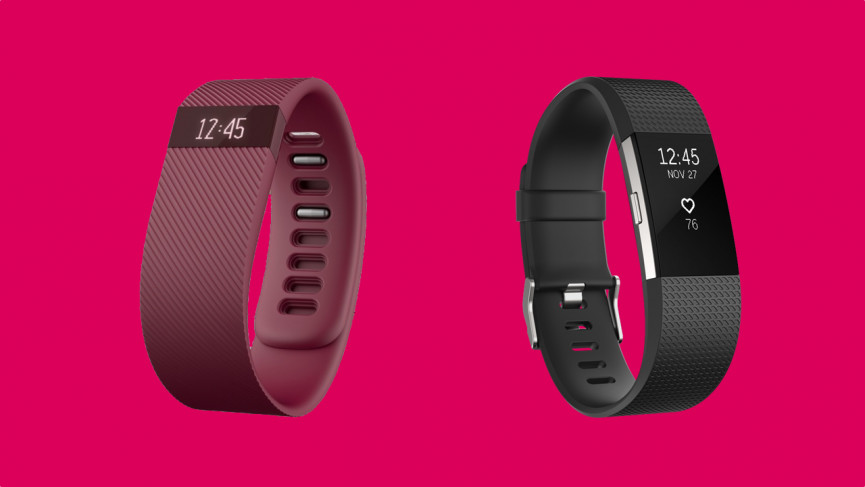 Fitbit Charge 2014 (left) and Fitbit Charge 2 2015 (right)