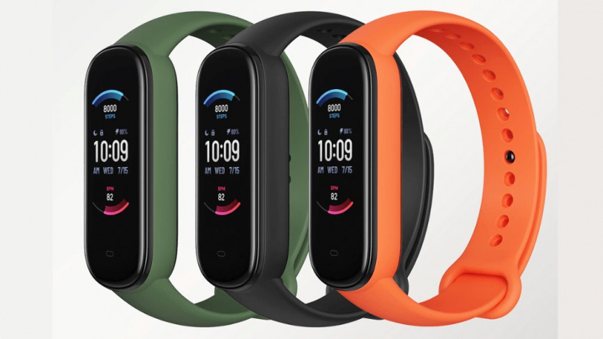 The Amazfit Band 6 colors - orange green and black