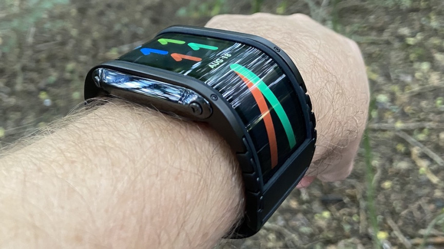 Nubia Watch on wrist showing large 4-inch screen