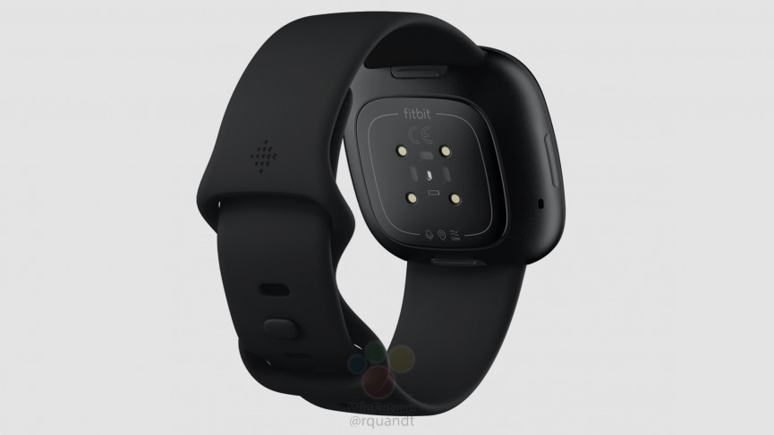 Fitbit Versa 3 rear showing icons for GPS