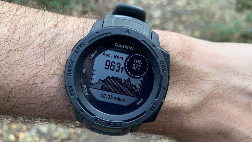 Garmin Instinct Solar showing elevation profile of a GPX loaded route