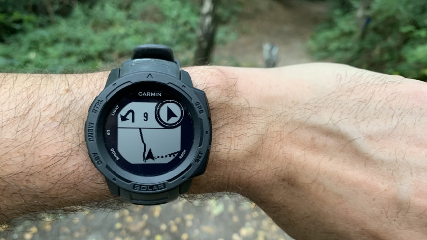 Garmin Instinct Solar showing GPS route and compass