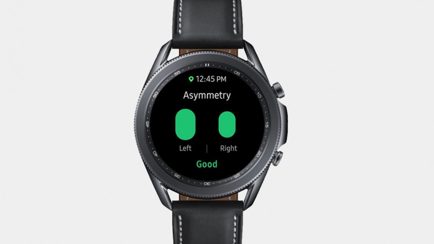 Galaxy Watch 3 black with black strap showing asymmetry