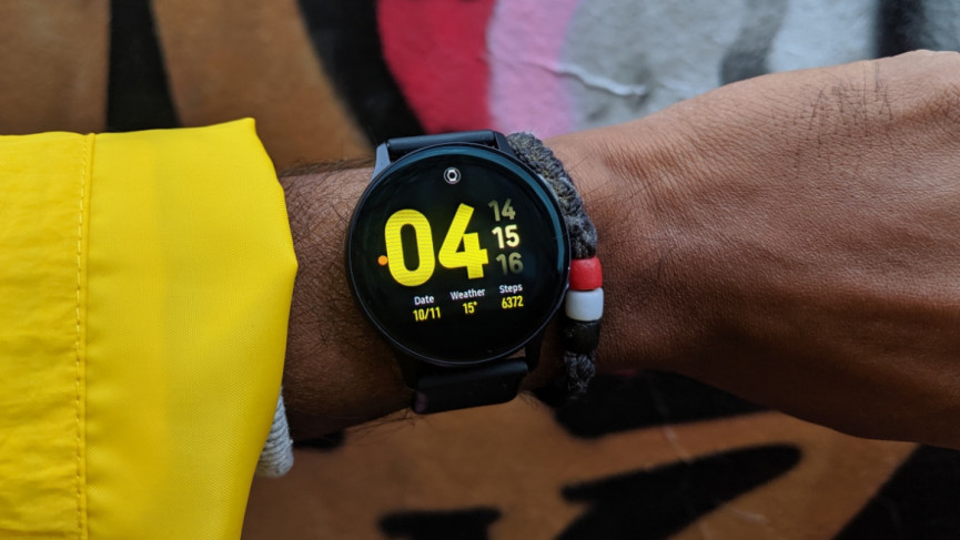 Active2 with yellow watch face on wrist