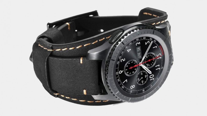41mm Samsung Galaxy Watch 3 black leather strap