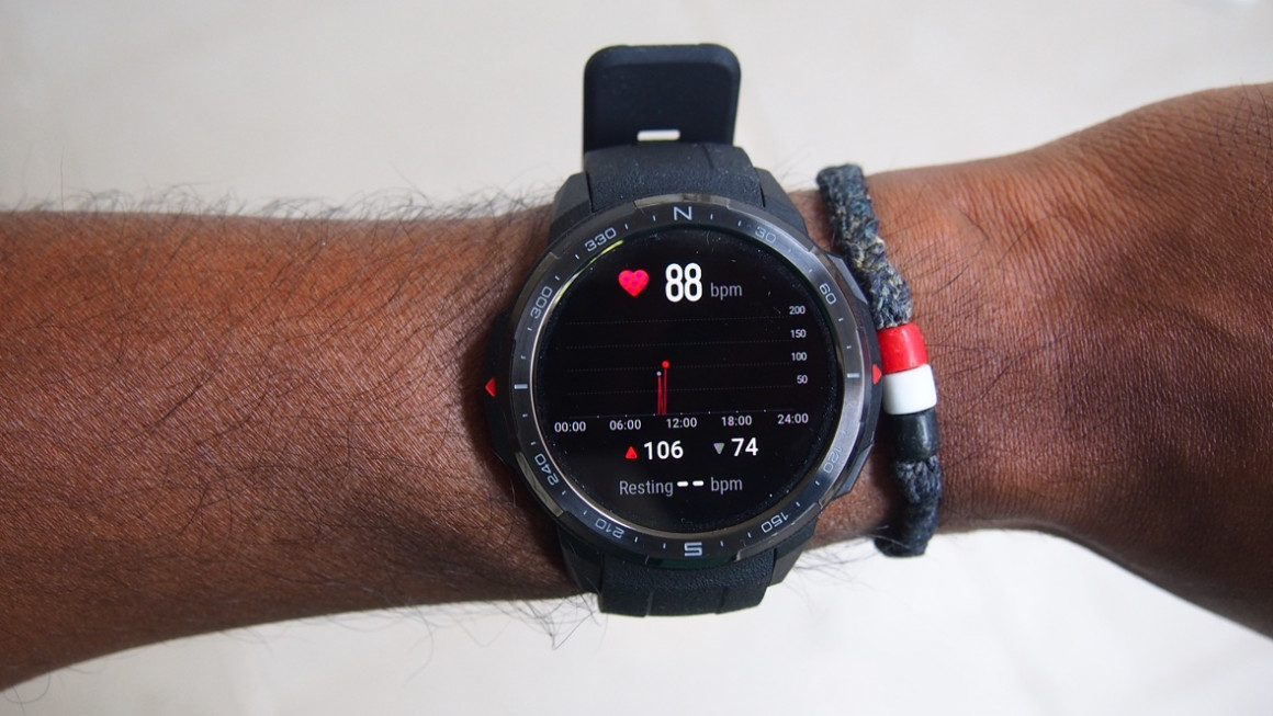 Honor Watch GS Pro on wrist with heart rate screen showing
