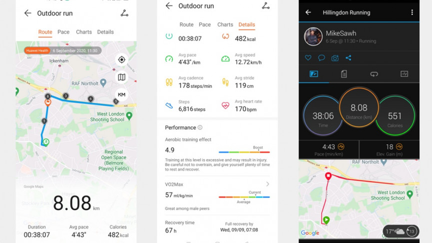 Huawei Watch Fit running comparison with garmin
