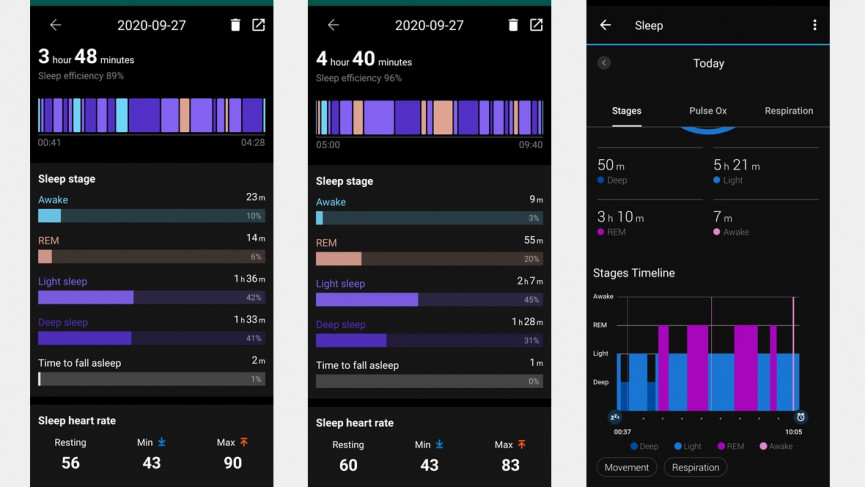 TicWatch Pro 3 sleep stages