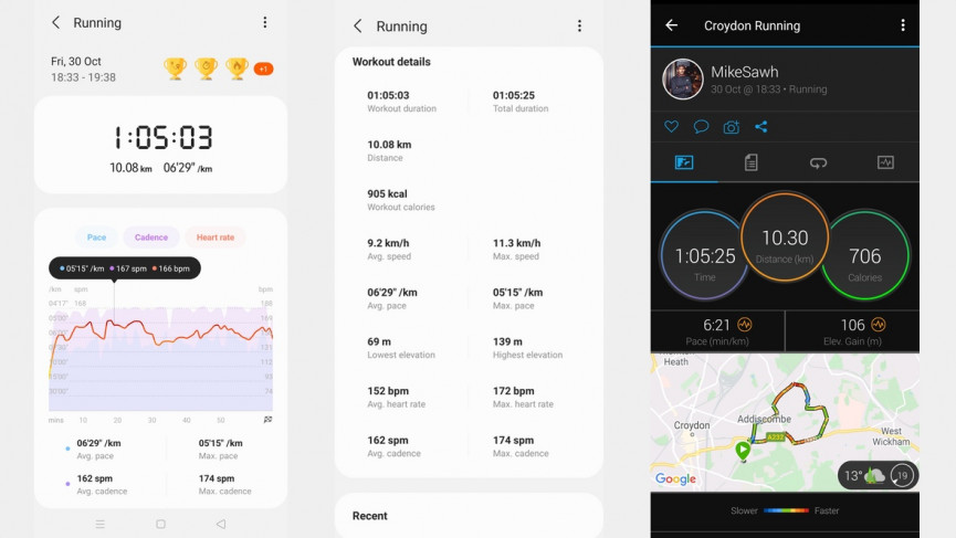 Run tracking compared: Samsung Galaxy Fit 2 (left and centre) and Garmin Forerunner 745 (right)
