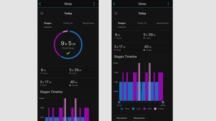 Garmin Venu Sq sleep stats from testing